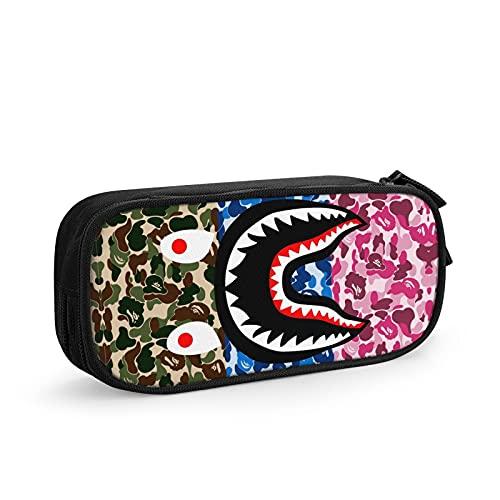 Estuche para bolígrafos de gran capacidad, diseño de camuflaje, color rojo y azul marino, con diseño de camuflaje verde y dientes de tiburón