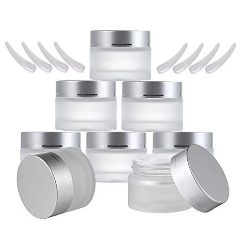8 Piezas Frascos de Vidrio Redondos de 30ml, Envases Cosméticos Vacíos con Forros Interiores y Mini Espátula, Tarros Cosmetica para Crema Loción Bálsamo Jabón Maquillaje