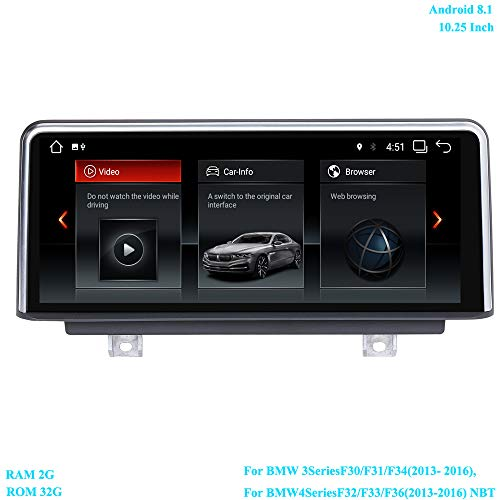 XISEDO Android 8.1 Autoradio 10.25 Pouces Écran 6-Core RAM 2GB ROM 32GB Car Radio Système de Navigation GPS pour BMW 3 Series F30/ F31/ F34(2013-2016), BMW 4 Series F32/ F33/ F36 (2013-2016)