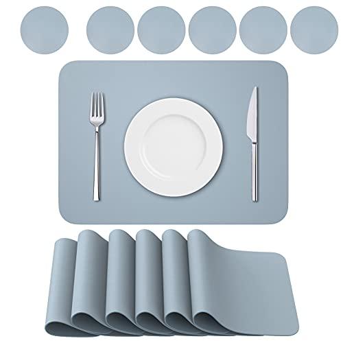 BANNIO Tovaglietta,PVC Tovagliette Cucina Lavabili Set di 6 Tovagliette e 6 Sottobicchieri ,Tavola Antiscivolo Resistente al Calore Tovagliette per Tavola,41x31cm,Blu Grigio