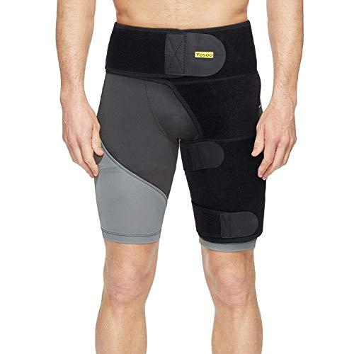 Leistenstützbandage, verstellbare Oberschenkelstütze mit Kompressionswickel und starken Klettbändern für Gelenk, gezogene Leiste, Ischiasnerv, Hüfte, Oberschenkel, Oberschenkelverletzung