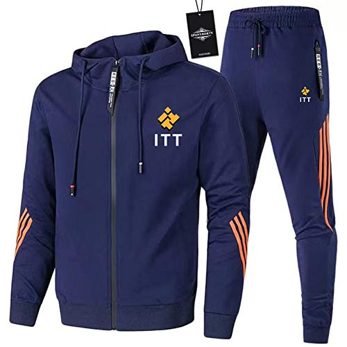 MAUXIAO de Los Hombres Chandal Conjunto Trotar Traje I_T-T Hooded Zipper Chaqueta + Pantalones Deporte Y/Azul/XXL
