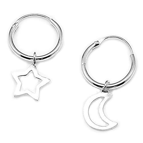AKIEE Aros De Plata de Ley 925 Con Cruz Luna Estrella Pendientes para Mujer Hombre (Luna y Estrella)