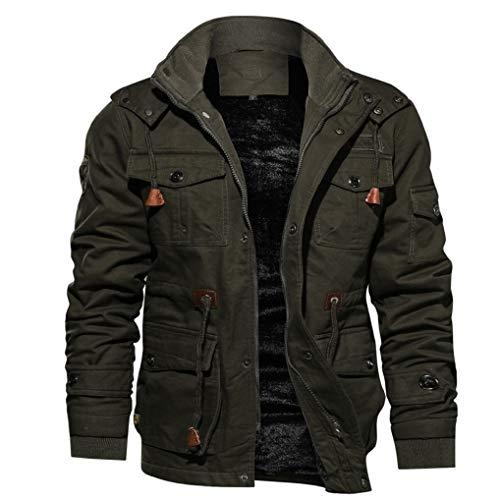 FNKDOR Manteau Homme Automne Hiver Plus Velours Chaud Militaire Pilote Veste Loisirs Drawstring Coupe-Vent Blouson Jacket à Poches (Armée Verte,M=FR(5))