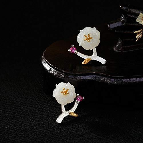 LYNLYN Pendientes de Plata S925 Sterling Silver Vintage Incrustado Natural y Tian Yu BAI Yu Plum Flor Mujer...
