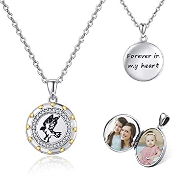 """Mother Day Gift Locket Necklace That Hold 2 Photos, Thunderbird 925 Sterling Silver Engraved """"Forever in my heart"""" Locket with CZ, Two Tone Picture Locket Memorial Gift for Women Wife Girlfriend Daughter with Gift Box"""