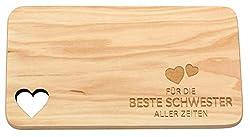 Spruchreif PREMIUM QUALITÄT 100% EMOTIONAL · Frühstücksbrettchen aus Holz · Brotzeitbrett mit Gravur · Geschenk für Schwester · Holzbrettchen mit Herzausschnitt · Geschenkideen Schwester