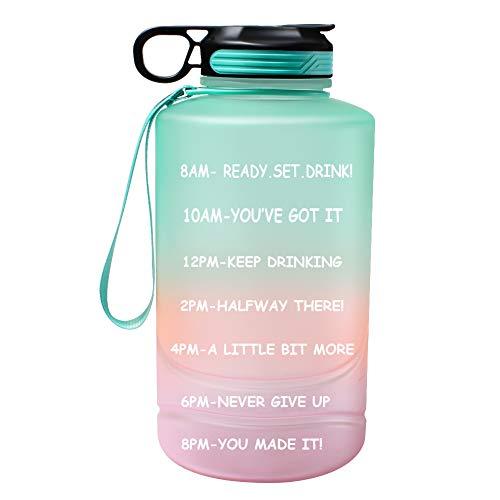 motiverende waterfles met tijdmarkeringen en stro, 2,2 liter halve galon, grote sportwaterkruik met handvat, BPA-vrije lekvrije waterflessen voor fitness, gym en buitensporten groen (groen)