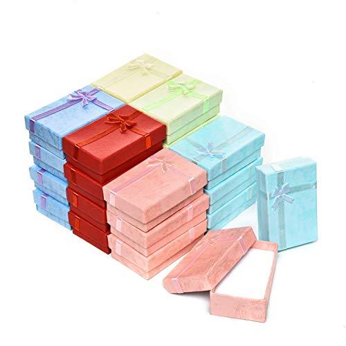 Yodio Juego de cajas de regalo de 24 piezas, cajas de regalo para anillos, colgantes, pendientes, collares, cajas de cartón para aniversarios, bodas, cumpleaños, colores surtidos