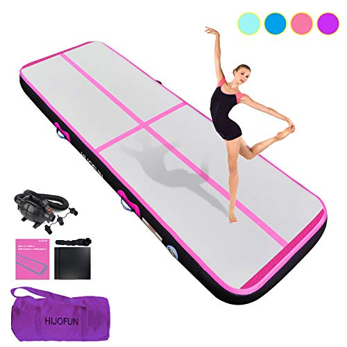 HIJOFUN Premium Air Track 10ftx3.3ftx8in Airtrack Gymnastics Tumbling Mat Inflatable Tumble Track with Electric Air Pump for Home Use/Gym/Yoga/Training/Cheerleading/Outdoor/Beach/Park Pink
