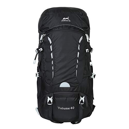 Eshow Wanderrucksack Trekkingrucksack 40L für Damen & Herren mit Regenhülle und Innengestell (Schwarz)