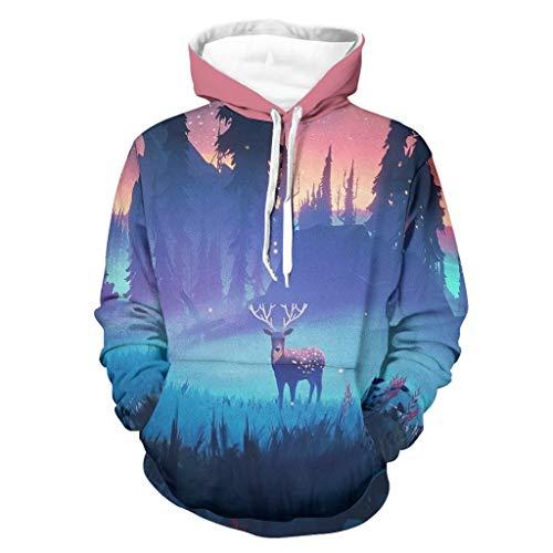 Niersensea Sudadera con capucha para niños, diseño de Navidad, alce, ciervo, bosque, bolsillos transpirables, color blanco, 4XL