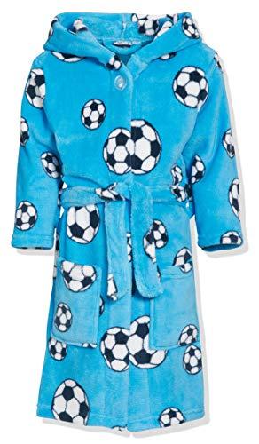 Playshoes Jungen Kuschelweicher Fleece Morgenmantel Fußball Bademantel, Blau (Blau 7), 134/140