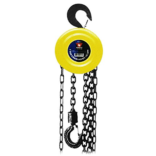 NEIKO 02183A Manual Chain Hoist | 1 Ton/2000 lbs Capacity | 20' Lift | 2 Hooks | Manual Hand Lift Steel Chain Block Hoist