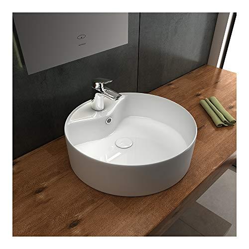 Alpenberger Keramik Aufsatzwaschbecken 40 cm Ø | Nano-Beschichtung für perfekte Hygiene | Waschplatz für Baderzimmer und Gäste-WC | Lotuseffekt Aufsatzwaschtisch mit Überlauf und Hahnloch