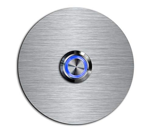 CHRISCK design - Edelstahl Türklingel Basic Ø 7,4 cm rund mit einem Klingel-Taster/LED Beleuchtung und schönen Dekorplatten aus Acrylglas Namensschild/Klingelplatte