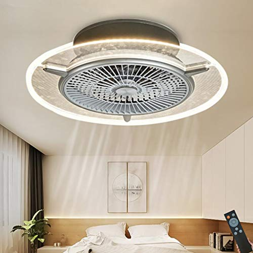 Ventilador techo LED con iluminación Luz de techo moderna Fuente luz/viento ajustable con control remoto Ventilador invisible ultra silencioso Lámpara techo dormitorio sala estar Lámpara