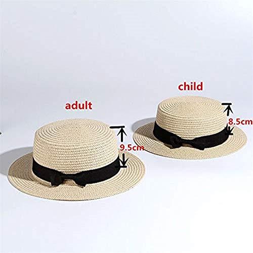 IMmps Eltern-Kind-Strandhut weiblich lässig Panama Strohhut Damen flach Traufe Bogen Strohhut Mädchen Sonnenhut - beige X Erwachsener 55-58cm