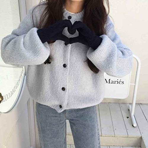XJJZS Nuevos suéteres de Mujer de Gran tamaño otoño Invierno Botones Vintage Cuello Cuello Cardigans Soltero mamada Manga Suelta Cardigan suéter (Color : Style 2)