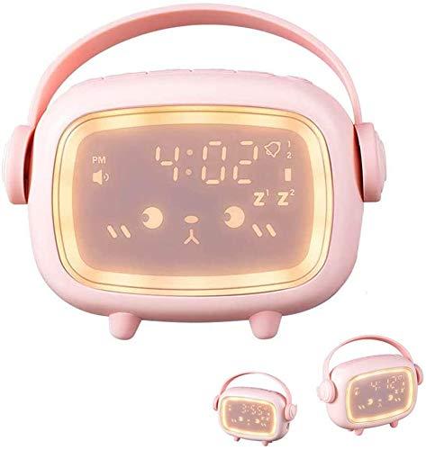 VABOO Despertador Digital Infantil, Reloj Despertador Recargable con luz nocturna LED y Función Snooze, Wake up Light Despertador Luz de Noche, Reloj Despertador Silencioso para Niños,Niña
