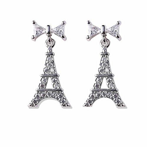 Fengteng Ein Paar Silber Damen Kristall Schleife Eiffelturm Ohrringe Schmuck