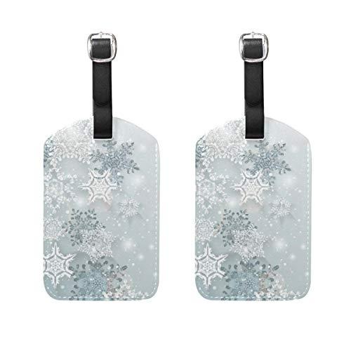 2PCS Etiquetas de Equipaje de Viaje Etiquetas de Cuero para Bolsa de Copo de Nieve con Cubierta de privacidad Trasera Completa (h) TAG-1159