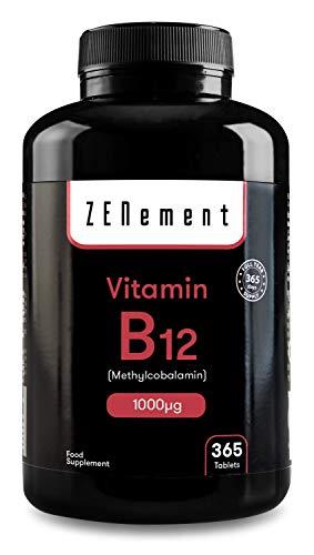 Vitamina B12 Metilcobalamina 1000 µg, 365 Comprimidos | Ayuda al sistema nervioso, inmunitario, energético y de los glóbulos rojos | Vegano, sin aditivos, sin gluten, No-GMO, GMP | de Zenement