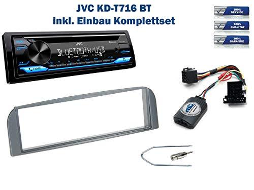 Autoradio Einbauset geeignet für Alfa-Romeo 147 inkl. JVC KD-T716BT & Lenkrad Fernbedienung Adapter in Anthrazit