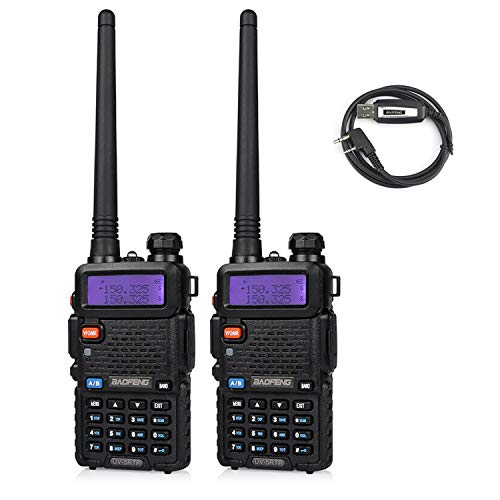 Baofeng UV-5RTP Tri-Power 8/4/1W Two-Way Radio Transceiver (2pcs)+ Programming Cable (1pcs)