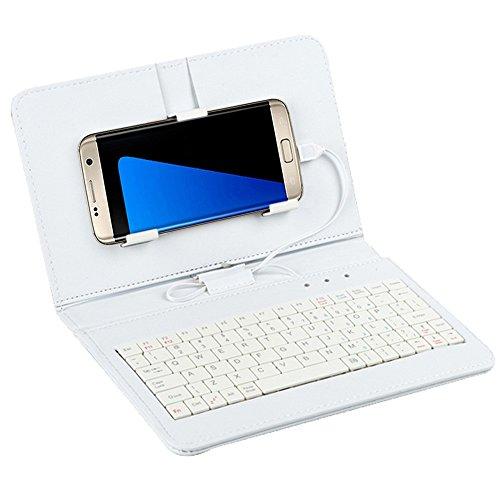 LanLan beschermhoes voor Tablet PC met klep voor toetsenbord met algemene draad, voor Android 4.8-6.0, wit