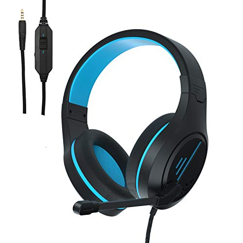 Stereo Gaming Headset for Xbox One PS4 Phones Tablets PC - Anivia MH601 Surround Sound Over-Ear Headphones with Anti-Noise Mic,Volume Control for Laptop, Mac,Smartphone,Games -Black Blue.