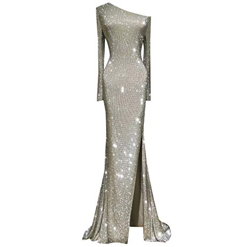 Women's One Shoulder Sequin Mermaid Evening Dress Long Sleeve Formal Gown Maxi Floor-Length Party Dress (XL  Silver)