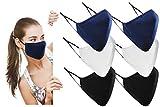 Baumwolle Masken Mundschutz Waschbar - Wiederverwendbare Verstellbare 3-Lagen Stoffmasken , Atmungsaktive Mund & Nasenmaske [Packung mit 6 , Gemischt Farben (Schwarz, Weiß, Blau)]