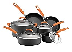 Premium Cookware Set 10 Piece RACHAEL RAY Exquisite Nonstick Hard Porcelain Enamel Cookware Oven Safe, PFOA-free,Dishwasher Safe, Orange Handles, Food Network Featured