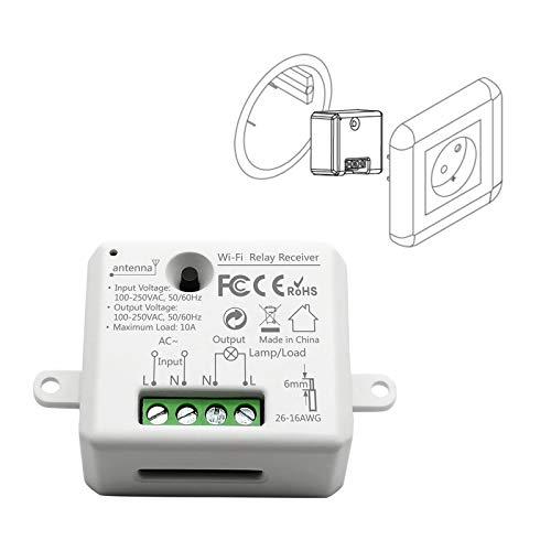 LoraTap Wifi Schalter Relais Modul Smart Home Switch mit Timer Fernbedienung über Handy für Hausautomation DIY Auf-/Unterputz Kompatibel mit Google Home