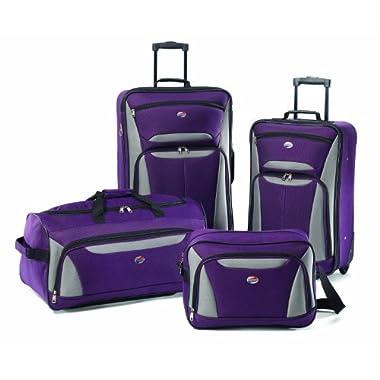 American Tourister Luggage Fieldbrook II 4 Piece Set, Purple/Grey