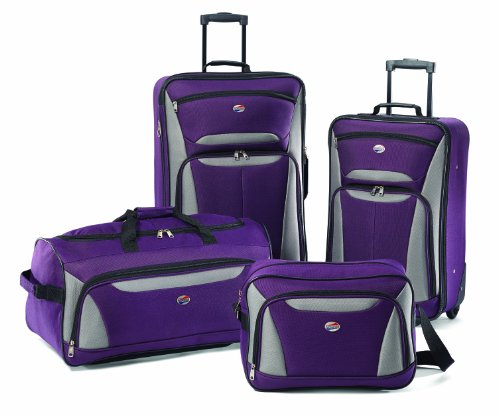 American Tourister Fieldbrook II Softside Luggage, Purple/Grey, 4-Piece Set