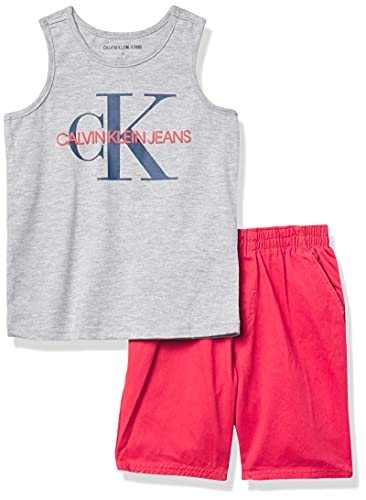 Calvin Klein Conjunto de 2 Piezas de Pantalones Cortos musculares para bebé, Calefactor Gris Plata/crisantemo, 4 Años