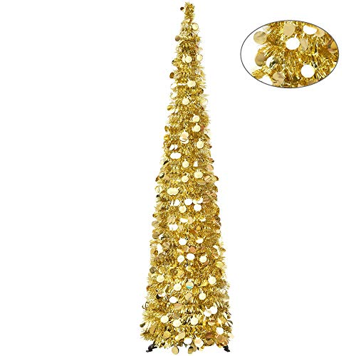 YuQi 5FT Christmas Tinsel Pop Up Trees Easy-Assembly Reusable, Collapsible Artificial Pencil Xmas Slim Tree with Shiny Sequins & Plastic Stand Outdoor Indoor for Home Decoration-Mom's Gifts