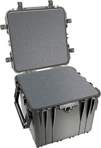 PELI 0340 contenedor de Transporte Profundo con Asas Laterales, asa retráctil y Ruedas robustas, IP67 estanco, 96L de Capacidad, Fabricado en EE.UU, con Espuma Personalizable, Color Negro