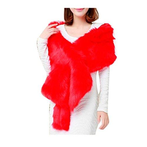 Koly_sciarpa spessore caldo lungo scialle della pelliccia di inverno delle donne (Rosso)