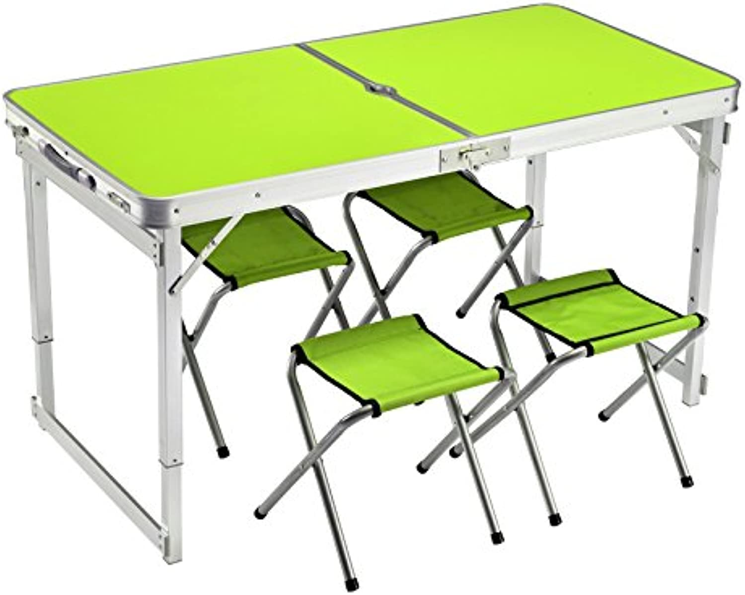 Xing Lin Outdoor Table Outdoor Leisure Full Aluminum Beach Picnic Picnic Fishing SelfDriving Tour Lifting Portable Folding Table And Chairs, Upgrade Stable Fresh Green 4 Cloth Stool