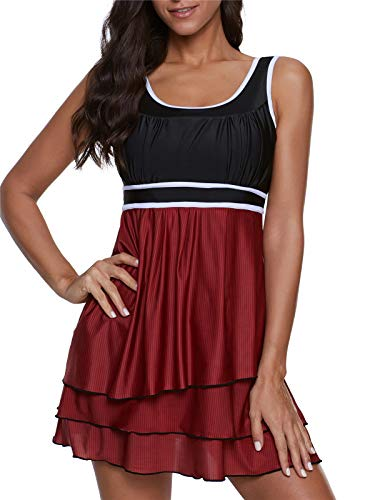 ReachMe Womens Two Piece Tankini Swimsuits with Boy Shorts Striped Swimdress Bathing Suits(5 Maroon,3XL)