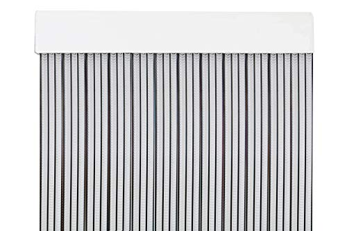 MERCURY TEXTIL Cortina para Puerta Tiras PVC 210x90cm,Cortina para Puerta Exterior (Transparente+Filo Negro)