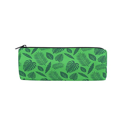 Cylinder Pencil Case Round Pen Pouch Various Green Leaves Pattern Office...