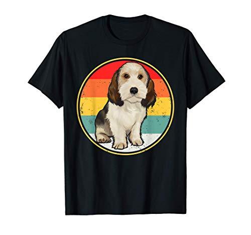 Puesta De Sol Vintage Retro Grifón Vandeano Basset Pequeño Camiseta