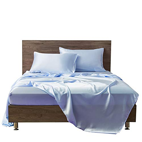 MR&HM Satin Bed Sheets, Full Size Sheets Set, 4 Pcs Silky Bedding Set with 15 Inches Deep Pocket for Mattress (Full, Light Blue)