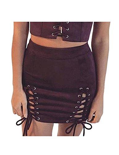Legou dames hoge taille strakke Faux-Suede Bodycon mini-rok
