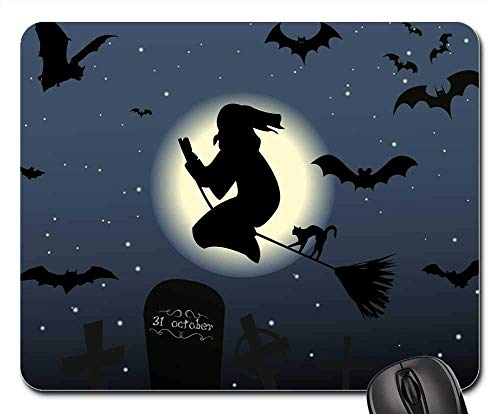 Mauspad - Halloween Die Hexe Hexenbesen Cat Moon Star