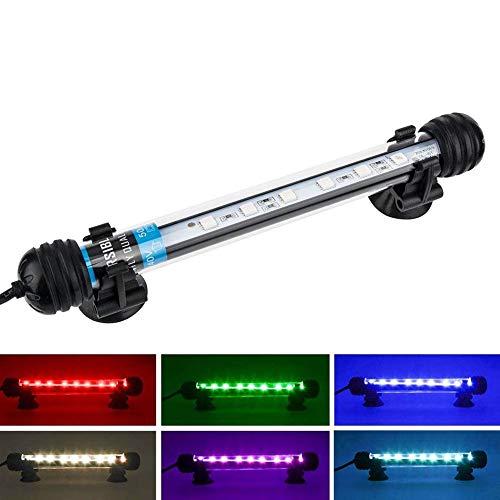NICREW RGB Luz Acuario, 18cm Luz LED Sumergible Acuario, Iluminación Tubo Pecera, Lámpara Leds Multiespectrales Acuario